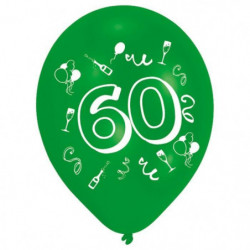 Lot de 8 Ballons - Latex - Nombre 60 - Imprimé 2 faces