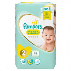 PAMPERS Premium Protection New Baby Taille 2 - 3 à 6 kg - 54