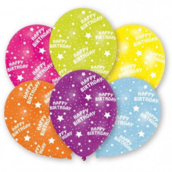 AMSCAN Lot de 6 Ballons en latex imprimé Happy Birthday - Ja