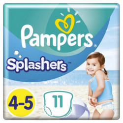 Pampers Splashers Taille 4-5, 9-15 kg, 11 Couches-Culottes