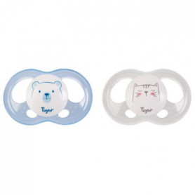 TIGEX 2 Sucettes Soft Touch Silicone Taille 18m+  Ourson Chat